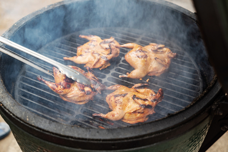 marinated quail on the grill Stok Fotoğraf