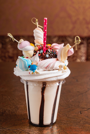 milkshake with marshmallow 스톡 콘텐츠