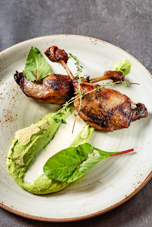 duck with green pea puree