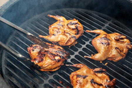 marinated quail on the grill 스톡 콘텐츠