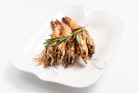 grilled prawns isolated