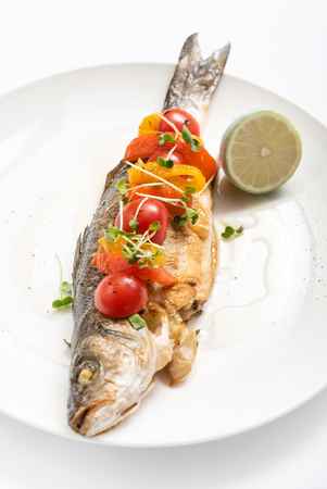 roasted fish with vegetables Stockfoto