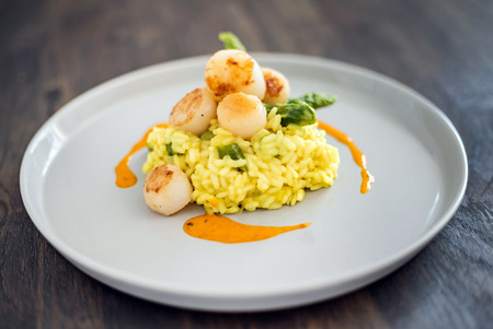 risotto with scallops Banque d'images