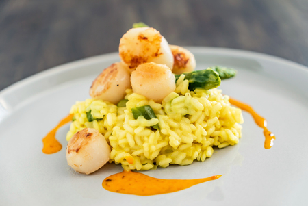 risotto with scallops Stock Photo