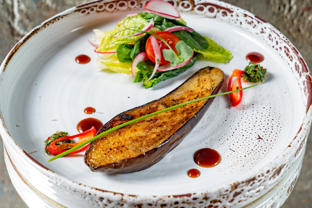 grilled eggplant with salad
