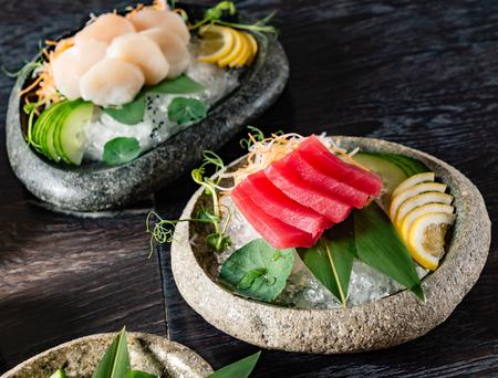 sashimi on table