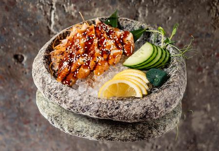 eel sashimi on ice