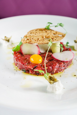 beef tartar with egg 写真素材