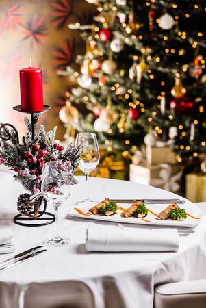 tasty Christmas table Stock Photo