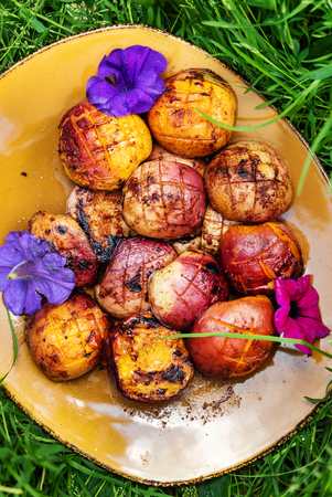 Grilled peach on the plate