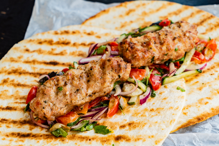 grilled kebab with salad