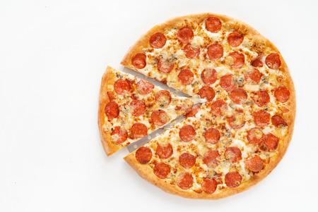 테이블에 맛있는 피자 스톡 콘텐츠