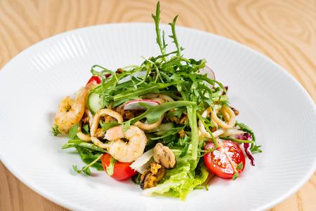 seafood salad with arugula