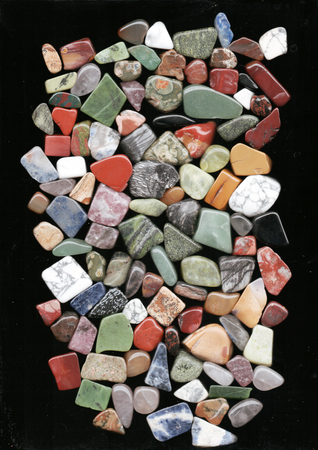 set of various natural mineral stones