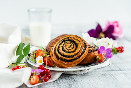 freshly baked cinnamon rolls Stock Photo - 109369351