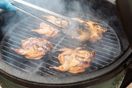 Marinated quail on the grill 스톡 콘텐츠 - 110663113