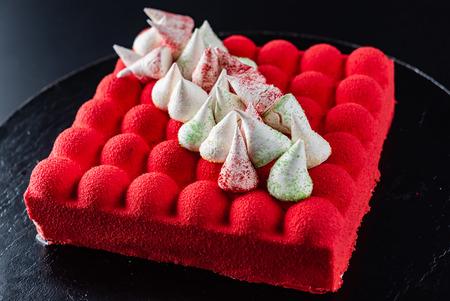 Red velvet cake on the table
