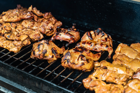 Marinated quail on the grill