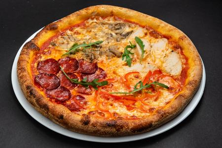 Fresh Italian pizza on the table Stok Fotoğraf
