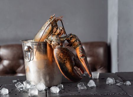 Raw lobster on table