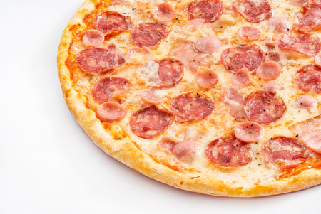 Pizza with sausage on the table Stock Photo
