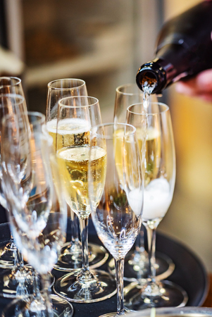 Champagne glasses on catering table