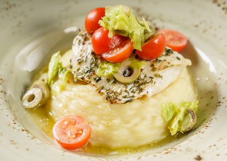 mashed potato and fish