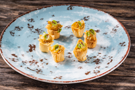 Christmas canape with duck Imagens