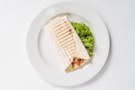 wrap sandwich with sausage Stock Photo