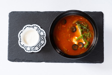 soup with olives