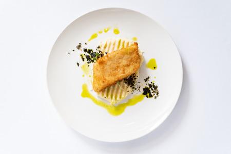 mashed potato with fried fish