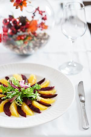 beet and orange napoleon salad