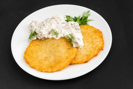 potato pancakes with sauce 写真素材