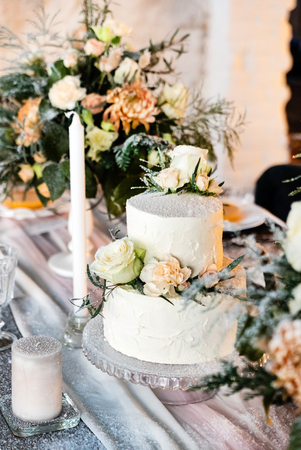 wedding table with cake
