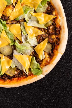 pizza on black background Stock Photo