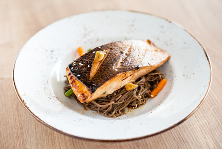 salmon with buckwheat noodle