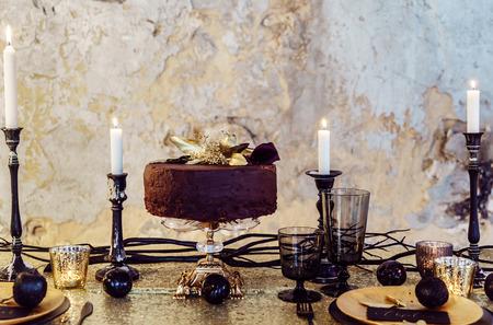 Christmas table with cake