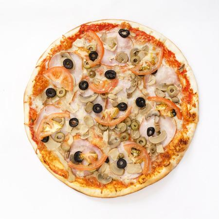 pizza on white Stock Photo