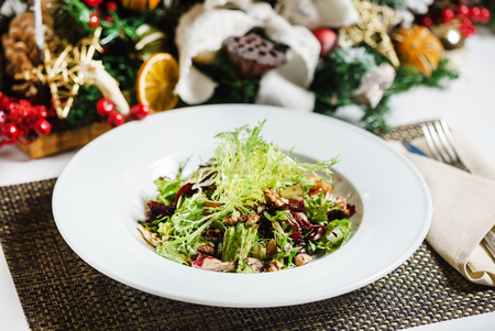 fresh salad on the Christmas table