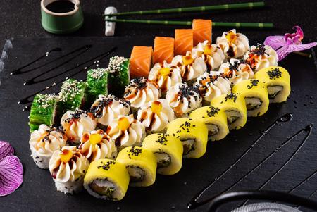 sushi on black board