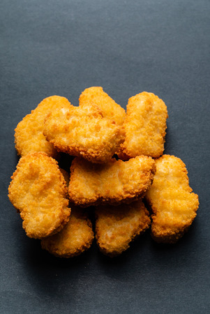 chicken nuggets on the black board
