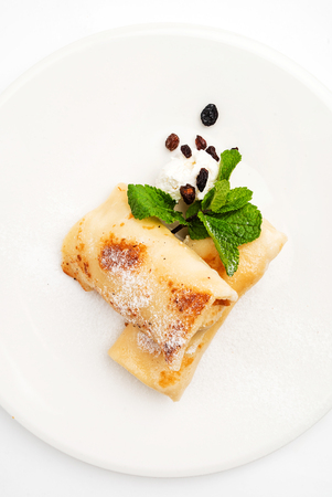 pancakes with cottage cheese and raisins Banco de Imagens