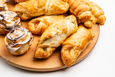 wooden tray with different bakery products Stockfoto