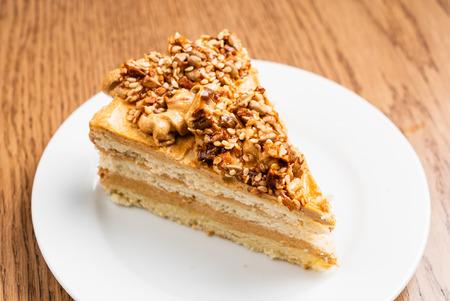 walnut cake with caramel