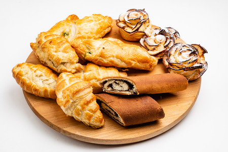Wooden tray with different bakery products