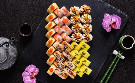 Sushi on black Stock fotó - 114407536