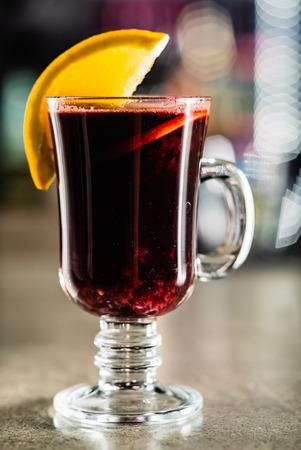 Mulled wine with orange Stock Photo