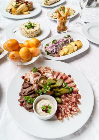 Christmas table with appetizers Stock Photo