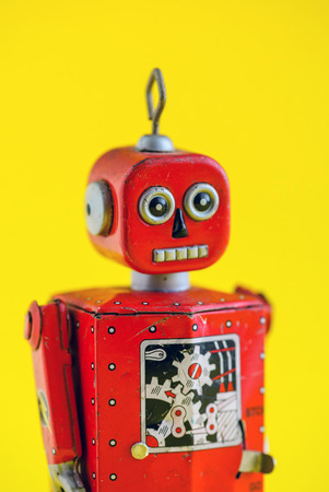 A vintage wind up toy robot Banco de Imagens