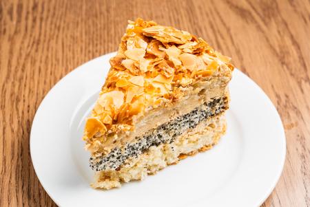 caramel cake with almond 写真素材